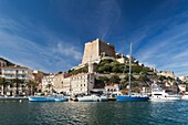 France, Corsica, Corse-du-Sud Department, Corsica South Coast Region, Bonifacio, port and Citadel, morning