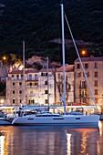 France, Corsica, Corse-du-Sud Department, Corsica South Coast Region, Bonifacio, port, dusk