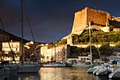 France, Corsica, Corse-du-Sud Department, Corsica South Coast Region, Bonifacio, port and Citadel, sunrise