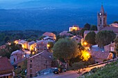 France, Corsica, Corse-du-Sud Department, La Alta Rocca Region, Zonza, elevated town view, dusk