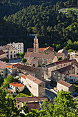 France, Corsica, Haute-Corse Department, Central Mountains Region, Ghisoni, elevated town view