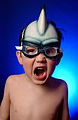 FV5287, Brian Summers, Boy Yelling wearing Fish Fin Swim Goggles