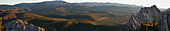 Panoramic over Sapper hill near Engineer Creek in Autumn, Dempster Highway, Yukon