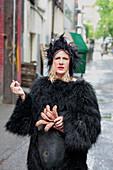 Woman in Gorilla Costume Smoking, Gastown, Vancouver, British Columbia