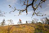 Woman Riding a Mountain Bike, near Victoria, British Columbia