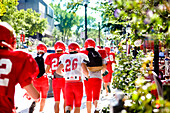 Football Players Running on Street, Grande-Allee, Quebec City, Quebec