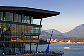 New Convention Centre and Blue Drop sculpture on pier, Coal Harbour, downtown Vancouver, British Columbia