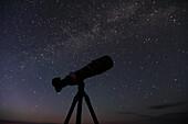 Camera for stargazing with Milky Way overhead, Grasslands National Park, Saskatchewan