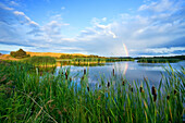 Rainbow over wetland marsh, Pembina Valley, Manitoba