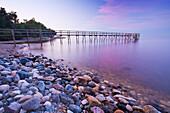 Pier and shoreline of Lake Winnipeg, Matlock, Manitoba