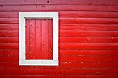 Red wood siding of historic Ice House Building, Hecla Village, Hecla Island Provincial Park, Manitoba