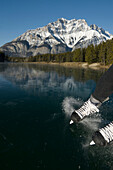 Person skating on a frozen pond, Johnson Lake, Banff National Park, Alberta