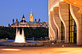 Canadian Museum of Civilization and Parliament Hill in Ottawa at Twilight, Hull, Quebec