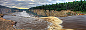 Panoramic image of the Hay River falling over Alexandra Falls with Hay River Gorge in distance, near Hay River, Northwest Territories