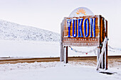 A Yukon welcome sign on the border with the Northwest and Dempster Highway, Yukon