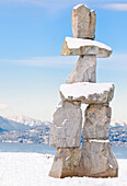 Inukshuk at English Bay in downtown Vancouver, British Columbia