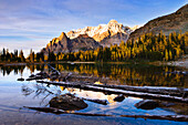 Schaffer Lake and Mount Huber at sunset, Yoho National Park, British Columbia