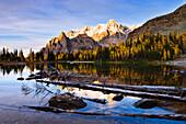 Schaffer Lake and Mount Huber at sunset, Yoho National Park, British Columbia