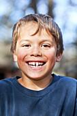 Portrait of a smiling young boy, Gimli, Manitoba, Canada