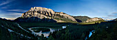View of Mount Rundle and the Bow River from the hoodoos lookout, Banff National Park, Alberta, Canada