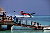 Republic of the Maldives, Lhaviyani Atoll,  Kanuhura Hotel, landing stage and seaplane