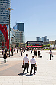 France, Paris, La Defense District,  Lunch Time, People walking on the square