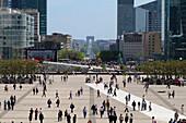 France, Paris - Ile De France,  La Défense, Lunch Time, Esplanade de La Défense -Square,   Triumphal Arch in the background
