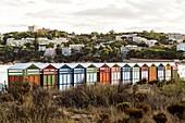 Spain, Catalonia, Costa Brava, S´Agaró, beach cabins