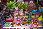 Malaysia, Borneo, Kuching market, vegetable, root and fruit stalls