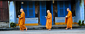 A group of monks are walking in a street of Hoi An to receive the food offering, Vietnam, South East Asia, Asia