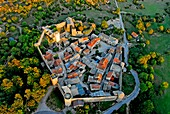 On the Larzac plateau, the village Couvertoirade. aerial view