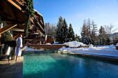 France, Haut-Savoie (74), Megève Ski Resort, Chalet du Mont d'Arbois - Relais & Châteaux luxury hotel, outdoor swimming-pool