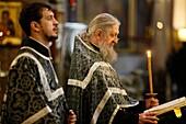 Kazan cathedral. Russian orthodox mass. Saint Petersburg. Russia.