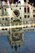 Reflection clock tower in Venice, Italy, Europe