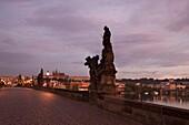 BAROQUE STATUES KING CHARLES IV BRIDGE PRAGUE CZECH REPUBLIC