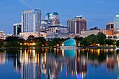 DOWNTOWN SKYLINE LAKE EOLA PARK ORLANDO FLORIDA USA
