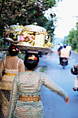 Woman ( Women ) In Embroidered Dress With Temple Offerings Walking Down A Road With Motorcyclists In The Distance . Ubud, Bali, Indonesia .