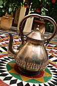 Traditional Maroccan Teapot On Mosaic Floor, Marrakech,(Marrakesh),Morocco