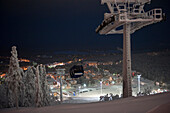 Floodlit Scene Of The Ski Slope And Resort Of Levi, Lapland, Finland