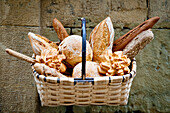 Basket Full Of Bread, San Sebastian, Basque Country, Spain