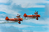Breitlng Wing Walkers In Action At The Eastbourne Airshow, East Sussex, Uk