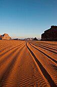 Tire Tracks In The Early Morning, Wadi Rum, Jordan, Middle East