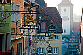The historic city centre around the central Market Place, Rothenburg ob der Tauber, Middle Franconia, Franconia, Bavaria, Germany