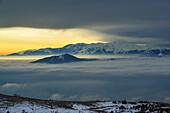 Majella standing above valley with sea of fog, Calascio, Abruzzi, Apennines, l' Aquila, Italy