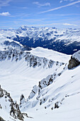 Ridge to summit of Vallatscha with view to Ortler, Vallatscha, Sesvenna range, Ofenpass, Grisons, Switzerland