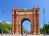 Arc de Triomf, triumphal arch, architect Josep Vilaseca i Casanovas, Neo-Mudejar style, Barcelona, Catalonia, Spain