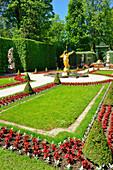 Golden statue of angel in the gardens of Linderhof castle, King Ludwig II of Bavaria, Linderhof castle, rococo, Ammergau range, Bavarian Alps, Upper Bavaria, Bavaria, Germany