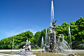 Fountain at Herrenchiemsee castle, Herrenchiemsee island, lake Chiemsee, Chiemgau, Upper Bavaria, Bavaria, Germany