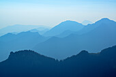 View from Kampenwand to Chiemgau range with Hochfelln and Hochgern, Kampenwand, Chiemgau range, Chiemgau, Upper Bavaria, Bavaria, Germany