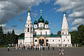 Tour groups in front of Church of St. Elijah the Prophet, Yaroslavl, Russia, Europe